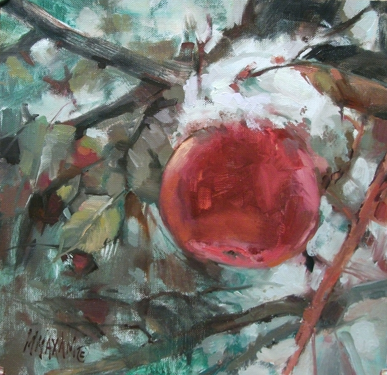 """Snowy Apples Again"" original fine art by Mary Maxam"