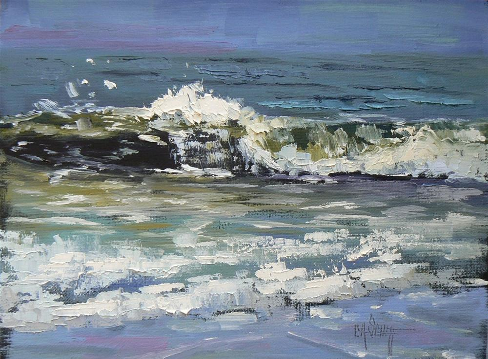 """Daily Oil Painting, Rushing To Shore, 6x8"" original fine art by Carol Schiff"