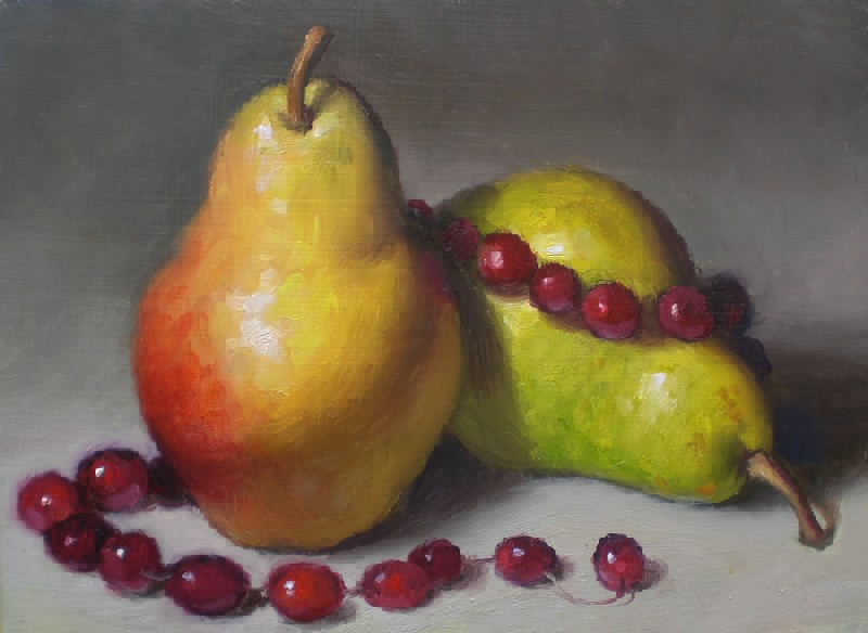 """Pears and Cranberries"" original fine art by Debra Becks Cooper"