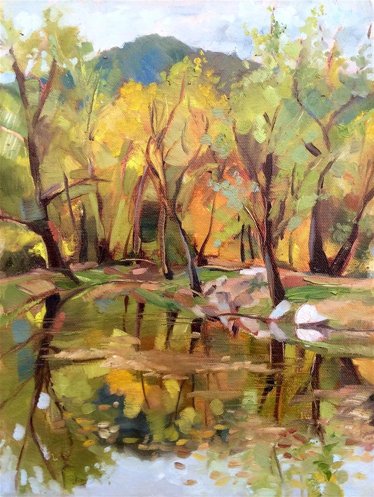 """Fishing Pond"" original fine art by Kathleen Gray Farthing"