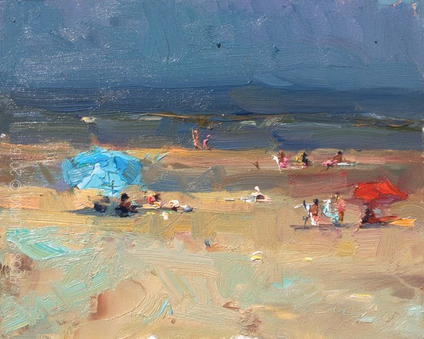 """Seascape Plein air Reds and Turquoises"" original fine art by Roos Schuring"