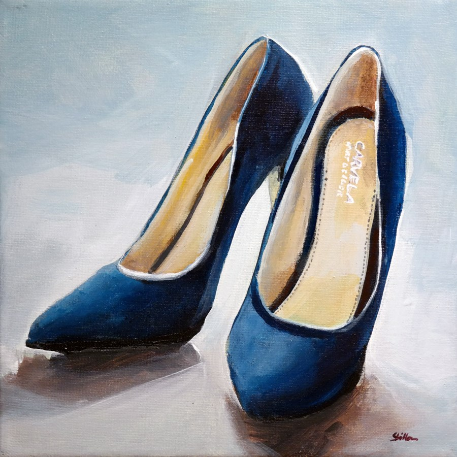"""1316 Blue Suede Shoes"" original fine art by Dietmar Stiller"