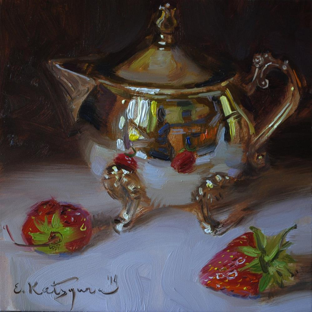 """Silver and Strawberries"" original fine art by Elena Katsyura"