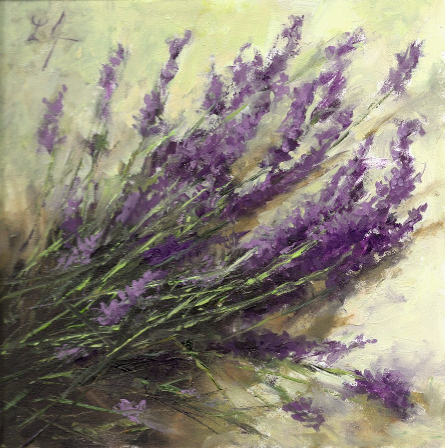 """Lavender Sprigs Farm Cut"" original fine art by Linda Jacobus"