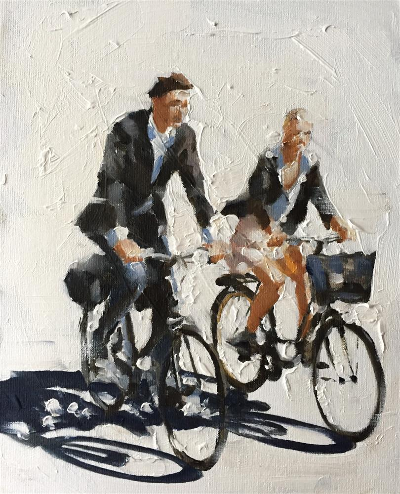 """Couple Cycling"" original fine art by James Coates"