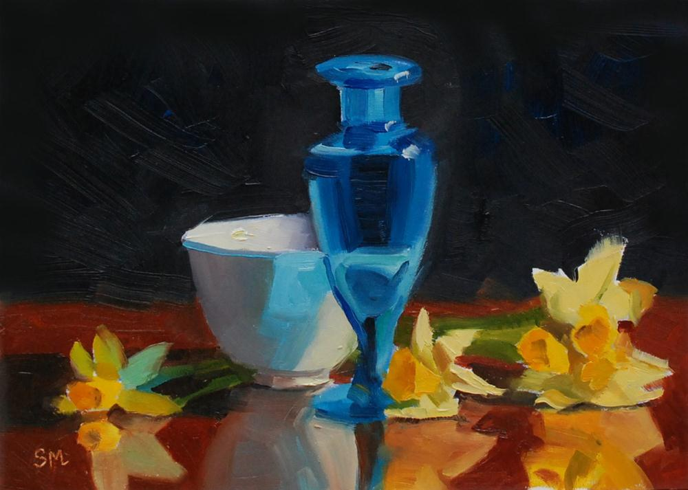 """Narcissus with Blue Vase and Cup"" original fine art by Susan McManamen"