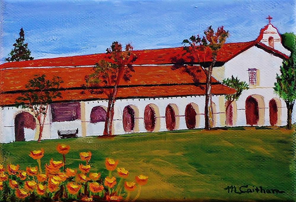 """Mission San Juan Bautista and California Poppies"" original fine art by Mike Caitham"