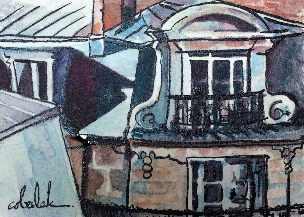"""Paris Windows"" original fine art by Christy Obalek"