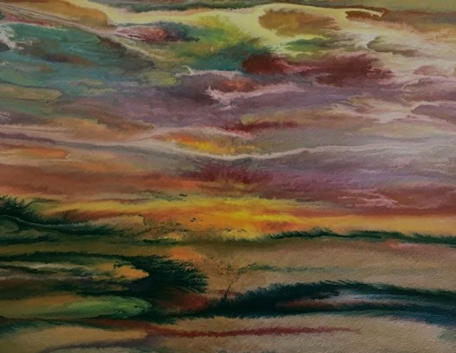 """Contemporary Abstract Landscape, Sunset Art Painting Sunset Reflections - Study #4 by Internationa"" original fine art by Kimberly Conrad"