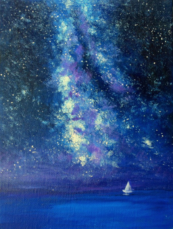 """Sailing the Milky Way"" original fine art by Jean Nelson"