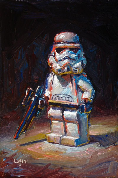 """LEGO Star Wars Stormtrooper"" original fine art by Raymond Logan"