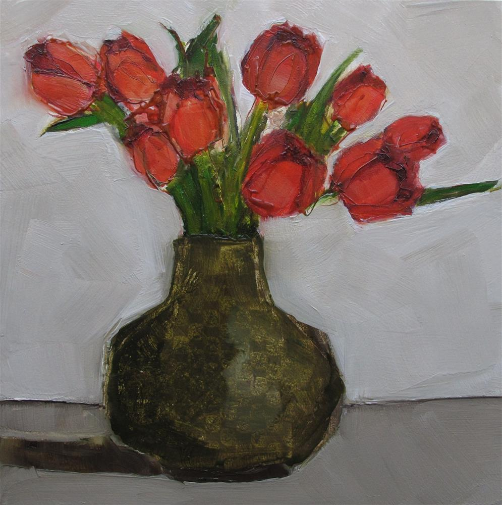 """STILL LIFE Floral TULIPS Abstract Original Art Colette Davis 6x6 Painting OIL"" original fine art by Colette Davis"