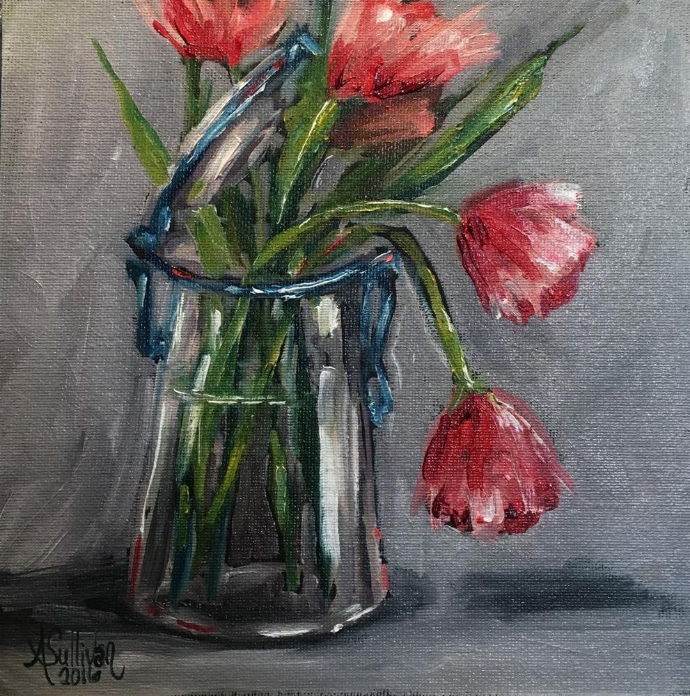 """Tulip Cup floral painting by Alabama Artist Angela Sullivan"" original fine art by Angela Sullivan"