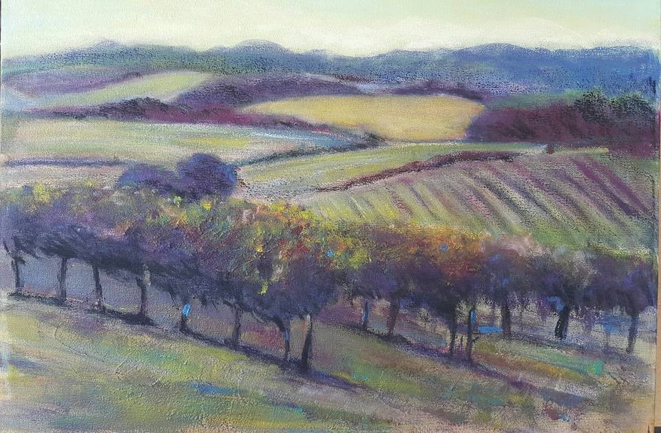 """Sunset in the vineyard"" original fine art by Rentia Coetzee"