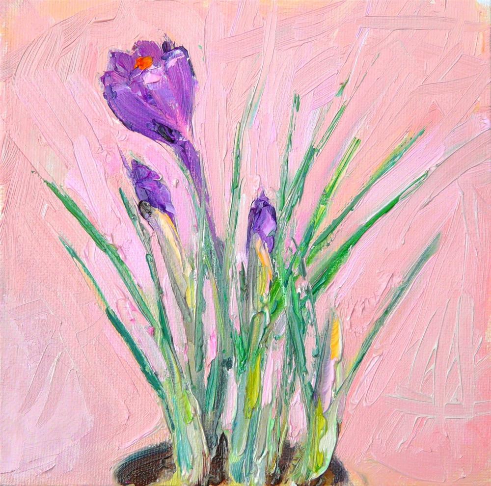 """Crocus,still life,oil on canvas,6x6,priceNFS"" original fine art by Joy Olney"