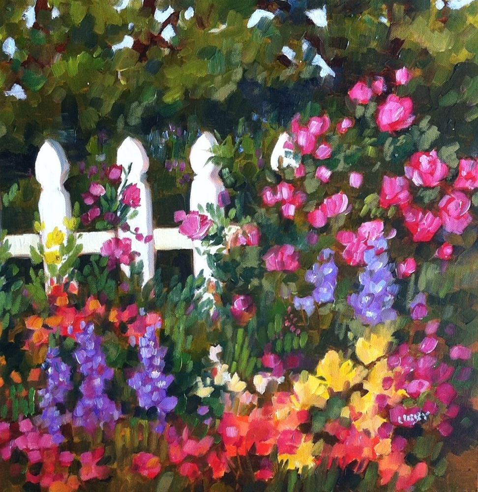 """Roses on the Fence"" original fine art by Libby Anderson"