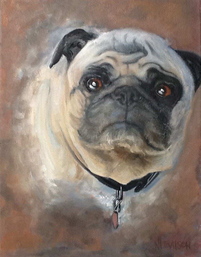 """Adored Pug"" original fine art by Nancy Levinson"