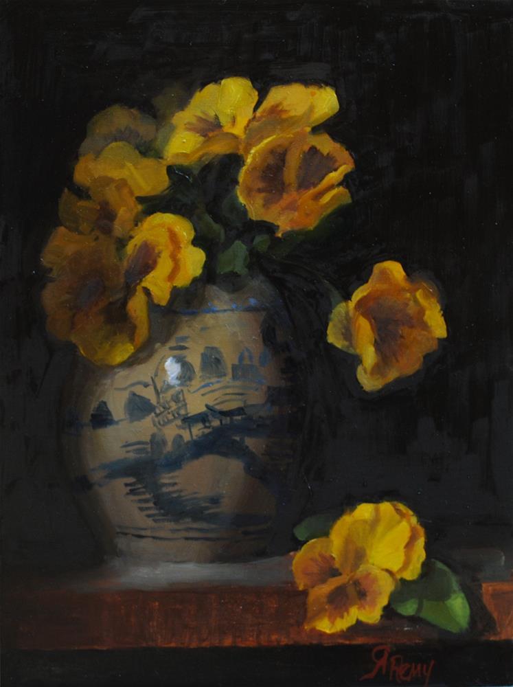 """Pansies - Chinese Vase"" original fine art by Roberta Remy"