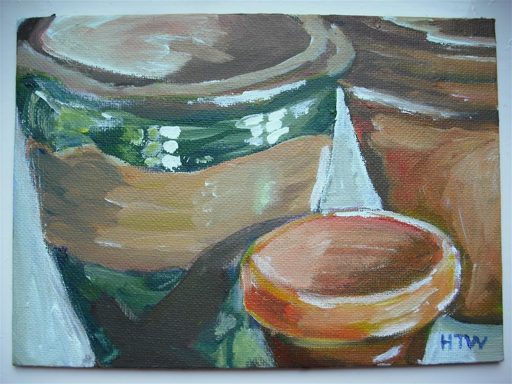 """One Glazed Flowerpot and Two Not"" original fine art by Heather Whiting"