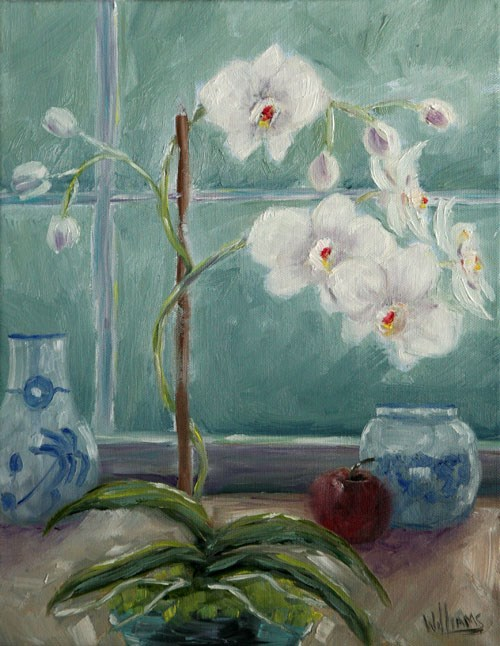 """""""Orchids in Blue Vase"""" original fine art by Sunny Williams"""