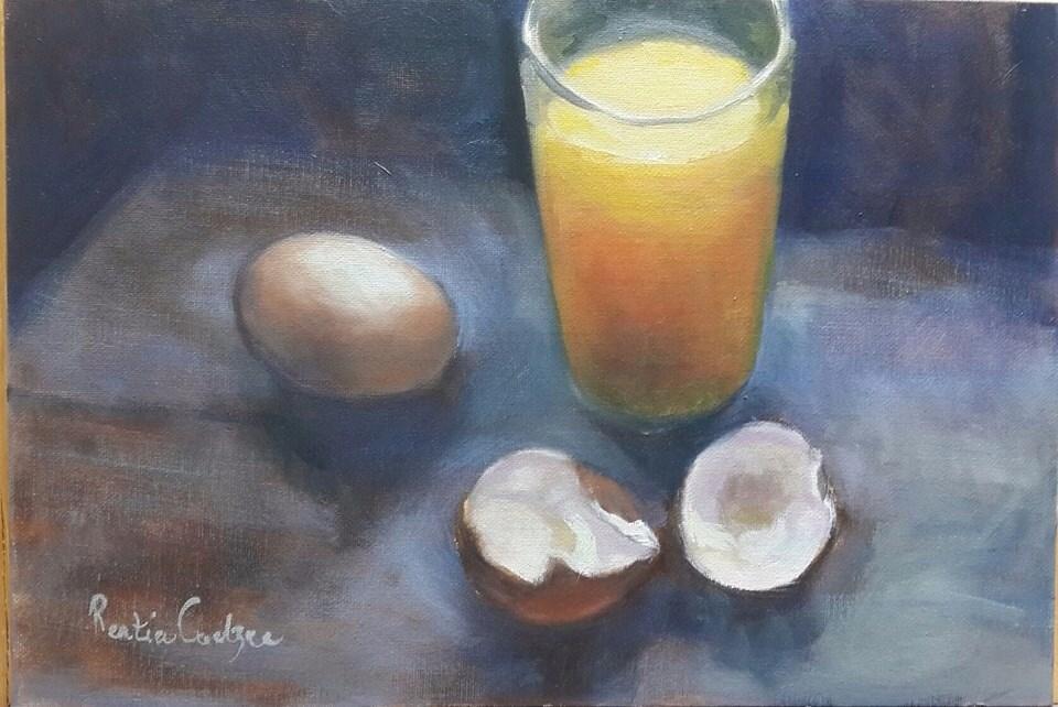 """Breakfast for one"" original fine art by Rentia Coetzee"