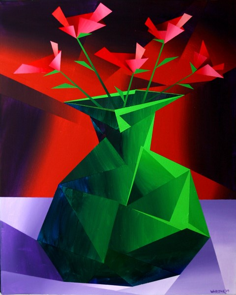 """Mark Adam Webster - Abstract Red Roses in Green Vase Prism Acrylic Painting"" original fine art by Mark Webster"