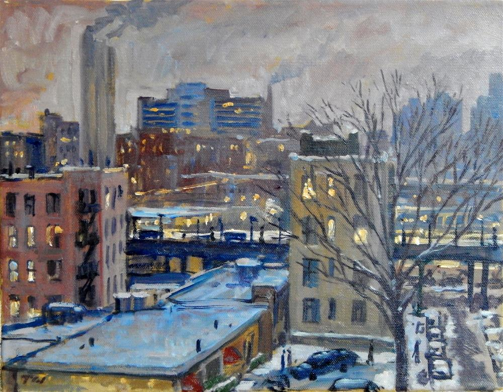 """Winter Twilight, NYC"" original fine art by Thor Wickstrom"