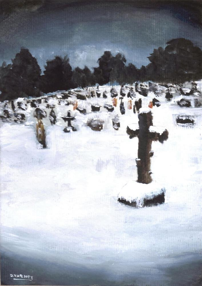 """Snowy Cemetery "" original fine art by Daniel Varney"