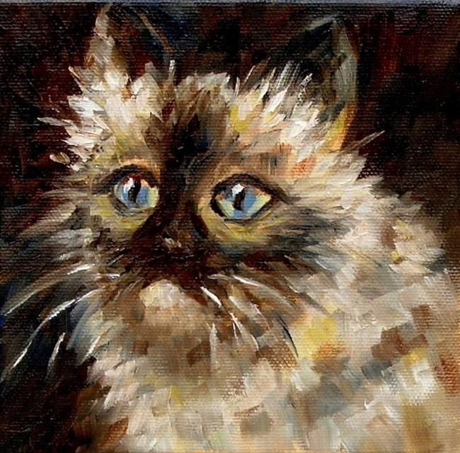 """Blue Cat"" original fine art by Irina Beskina"