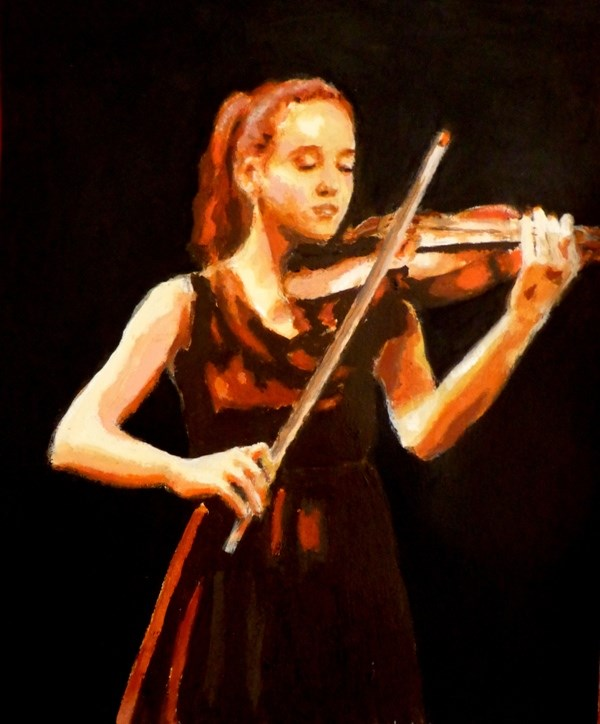 """Violin player"" original fine art by Maria Z."