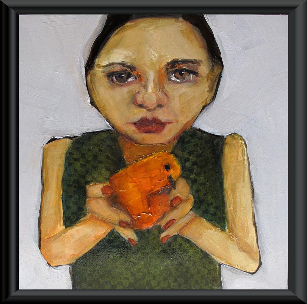 """BIRD-IN-THE-HAND-Original-ABSTRACT-FIGURE-Art-8-x-8-Painting-OIL"" original fine art by Colette Davis"