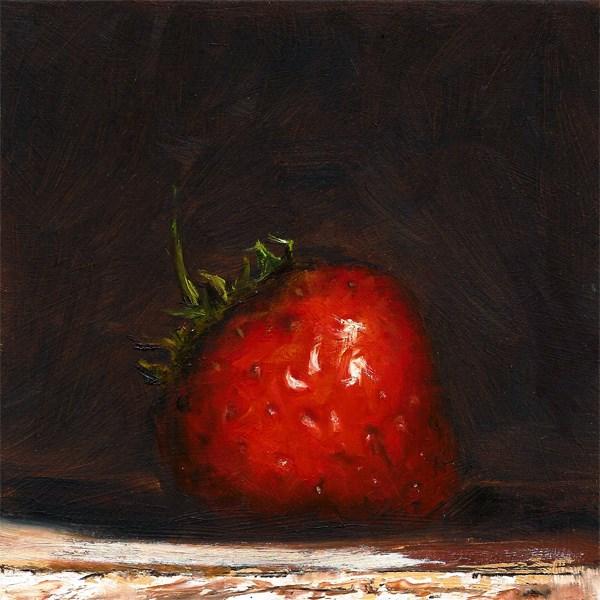 """Single Strawberry"" original fine art by Peter J Sandford"