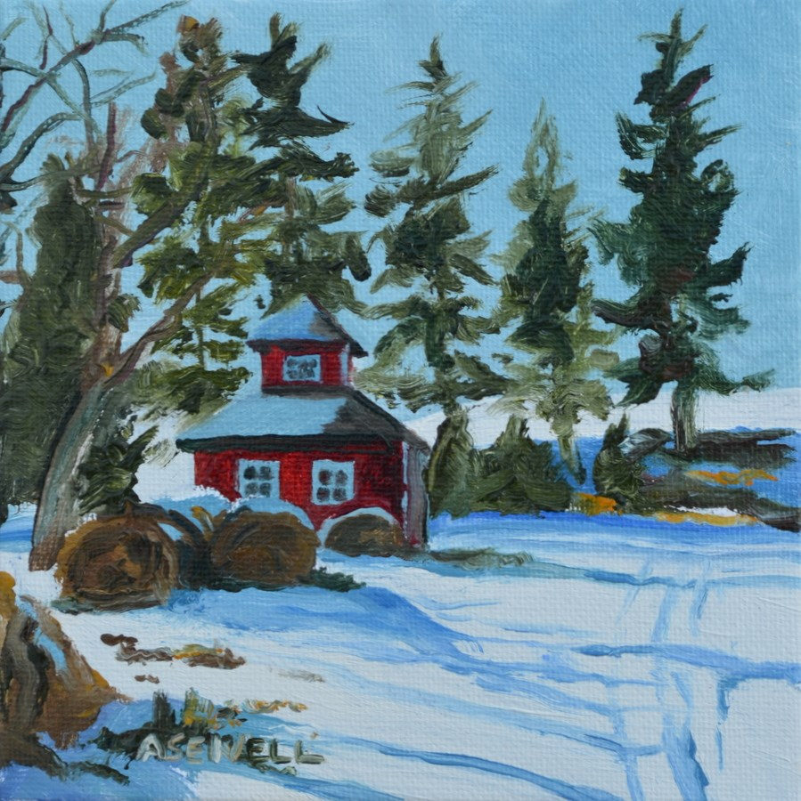 """Hay Barn - 6x6 oil on canvas by Andy Sewell"" original fine art by Andy Sewell"