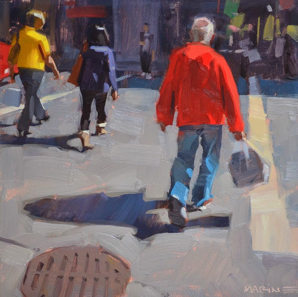 """Crossing with Bags"" original fine art by Carol Marine"