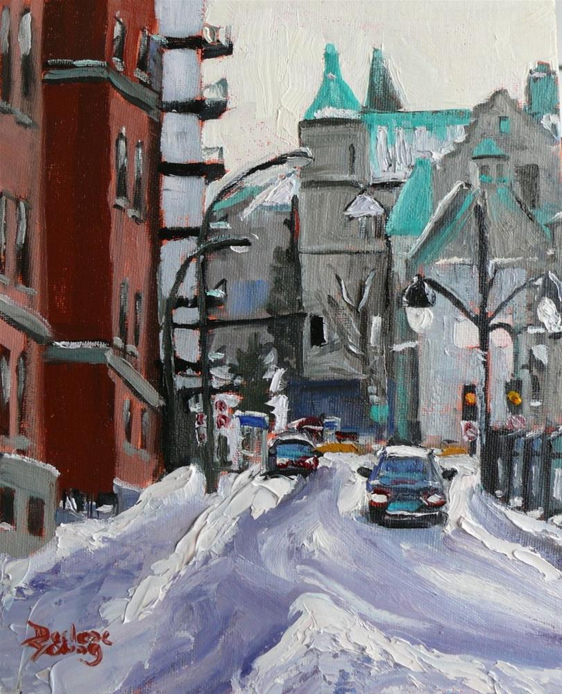 """690 Montreal Winter, Av des Pins"" original fine art by Darlene Young"