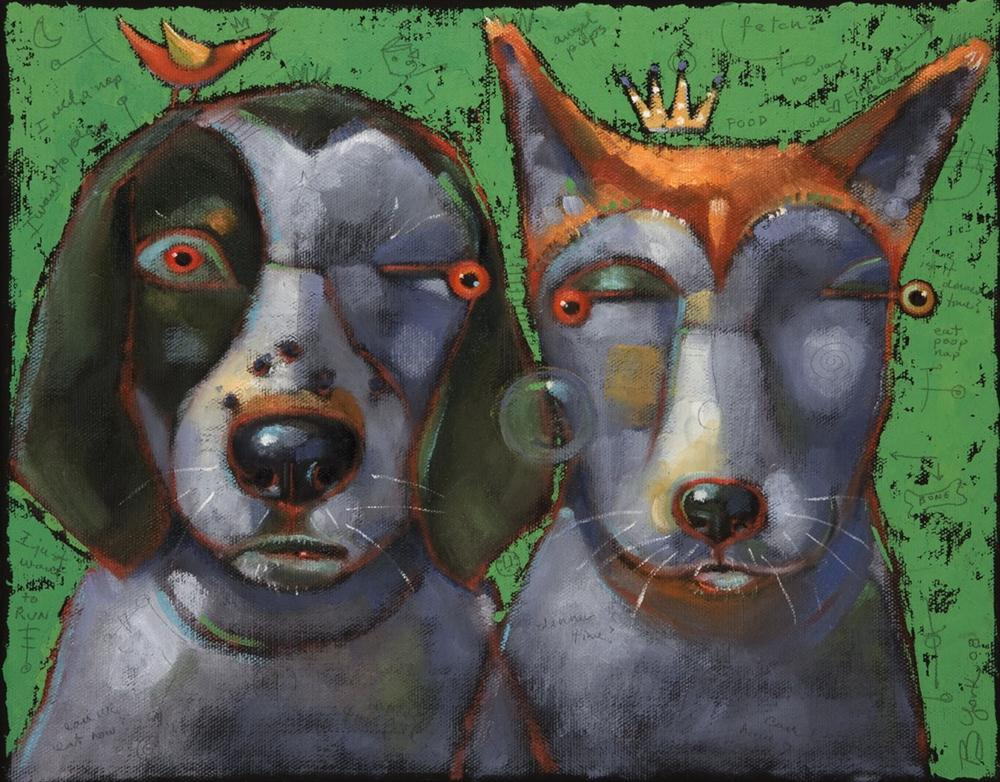 """Woody And Beck, The Famous Hounds Of Montucky"" original fine art by Brenda York"