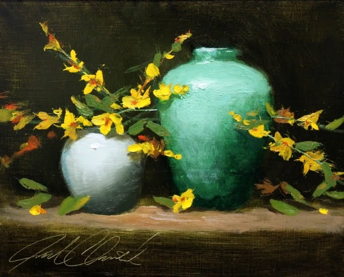 """""""'Forsythia and Vases'"""" original fine art by Justin Clements"""