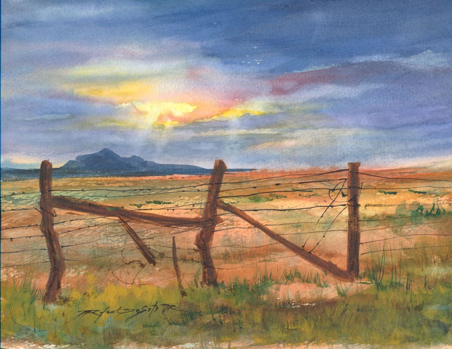 """New Mexico Fence"" original fine art by Rafael DeSoto Jr."