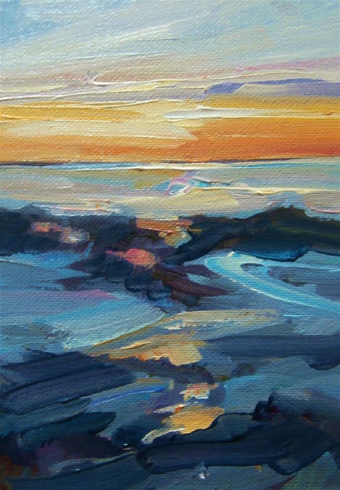 """""""Low tide, sunrise"""" original fine art by Anne Wood"""