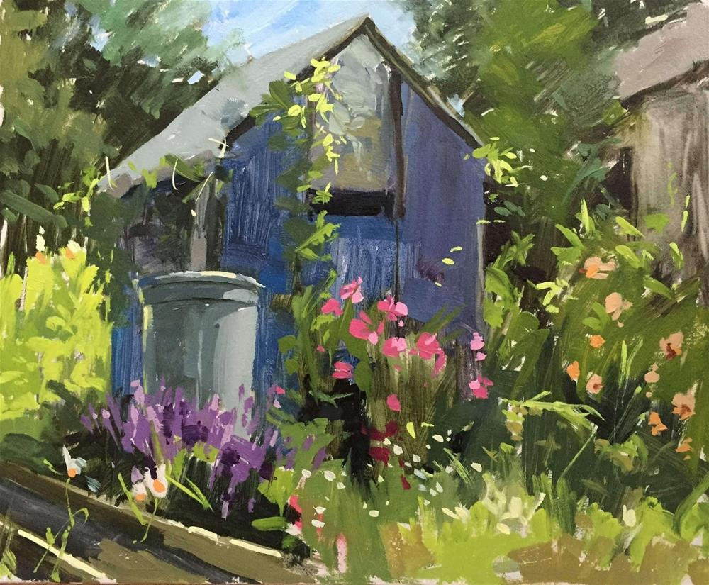 """The blue carrot shed"" original fine art by Haidee-Jo Summers ROI"