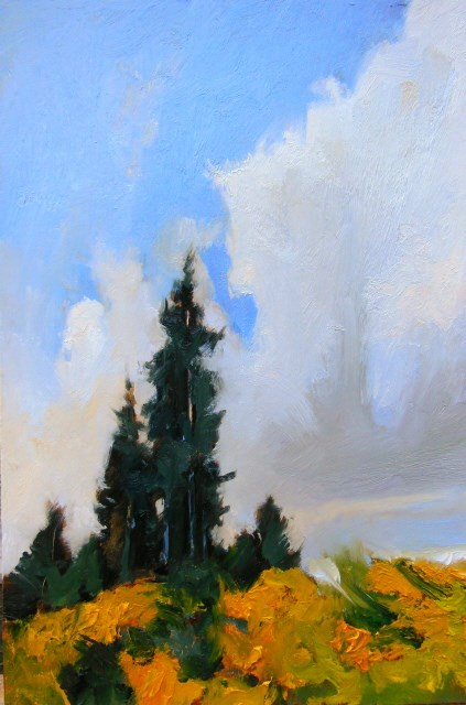 """Scotch Broom and Firs oil landscape painting by Robin Weiss"" original fine art by Robin Weiss"