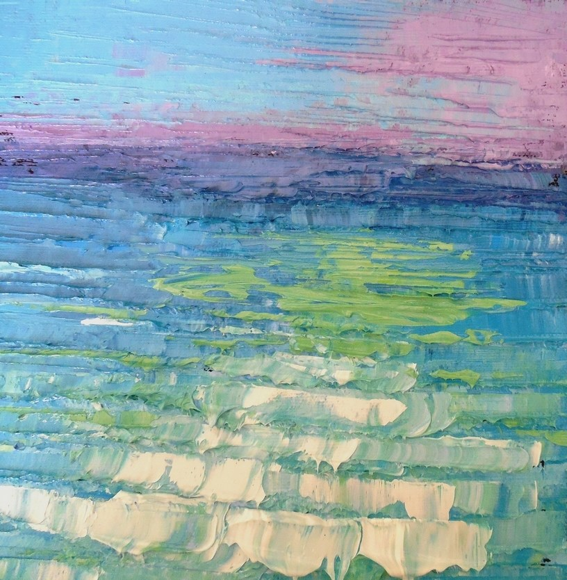 """Abstract Seascape Painting, Small Oil Painting, Tropical  Ocean  8x8x1.5"" original fine art by Carol Schiff"