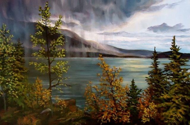 """Storm Over Little Salmon"" original fine art by Jackie Irvine"