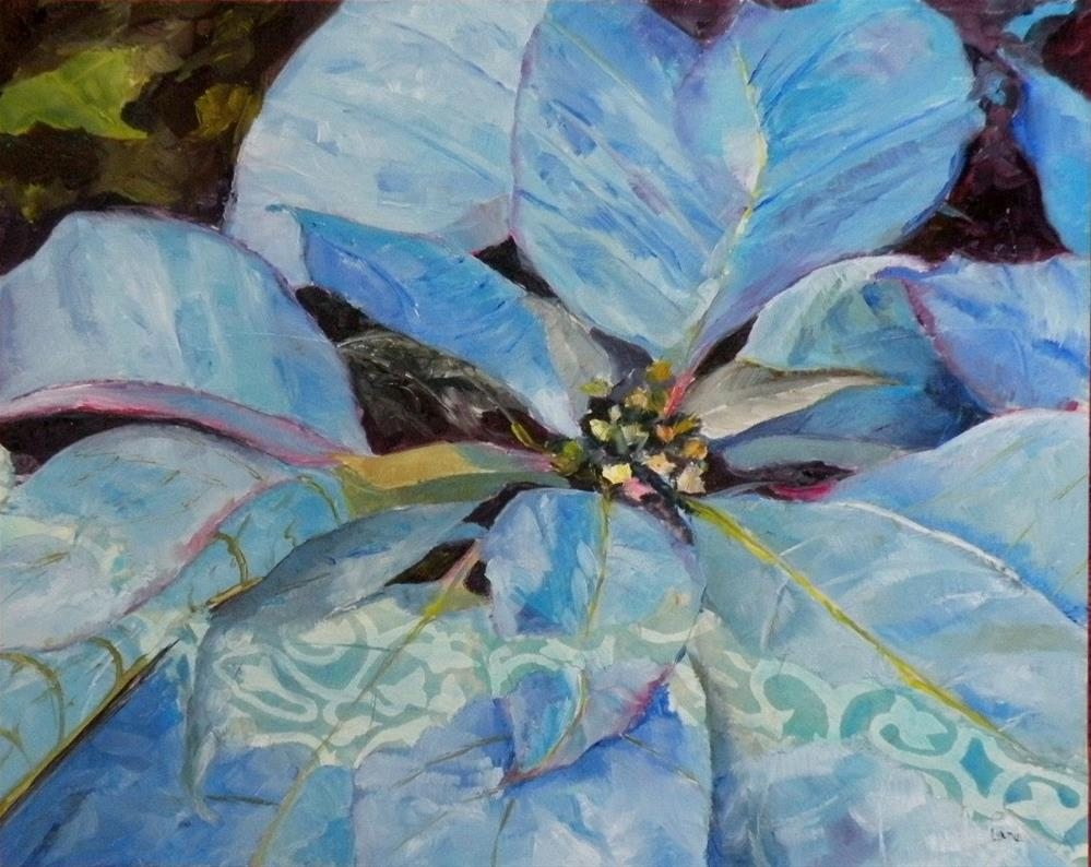 """Blue Poinsettia"" original fine art by Saundra Lane Galloway"