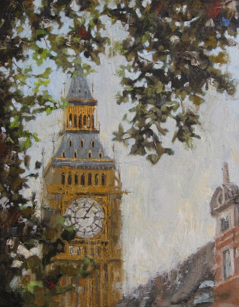 """Big Ben through the trees 11 x 14  oil"" original fine art by Claudia Hammer"