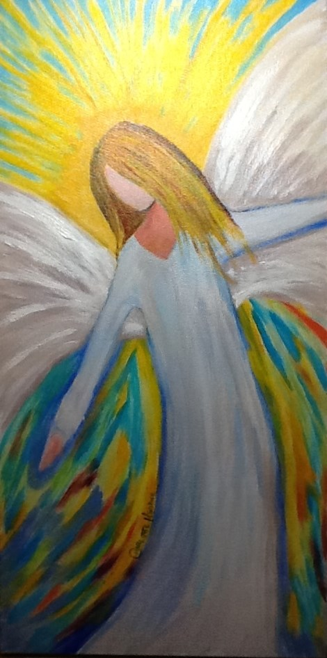 """In the Arms of an Angel"" original fine art by Charlotte Bankhead Hedrick"