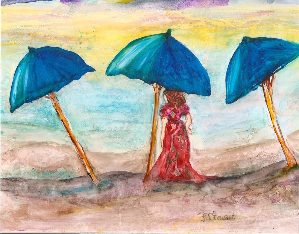"""8x10 Watercolor on Yupo Umbrellas on the Beach Woman in Red Penny StewArt"" original fine art by Penny Lee StewArt"