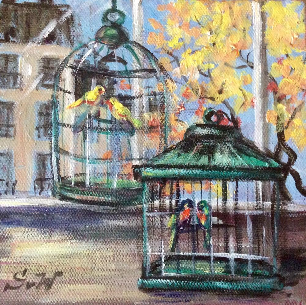 """Two birdcages"" original fine art by Sonia von Walter"
