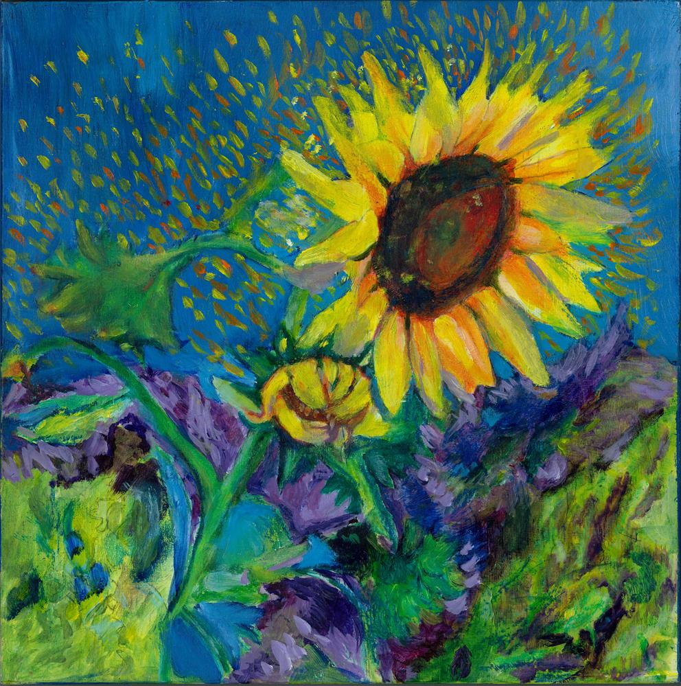 """Glittering Sunflower"" original fine art by Elizabeth Current"