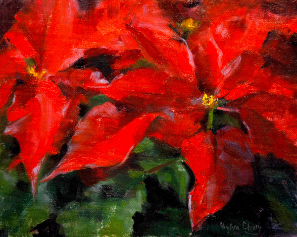 """Poinsettia"" original fine art by Maryann Cleary"
